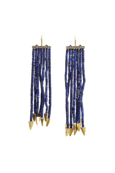 Sylva & Cie - Gold Lapis Strand Diamond Earrings