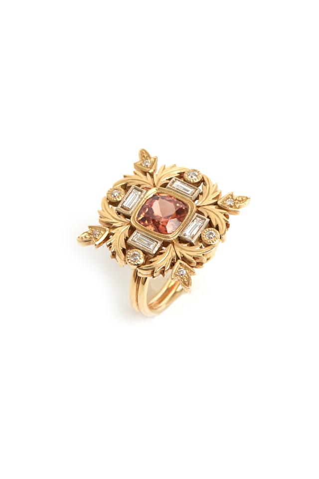 Gold Malaya Garnet Diamond Ring