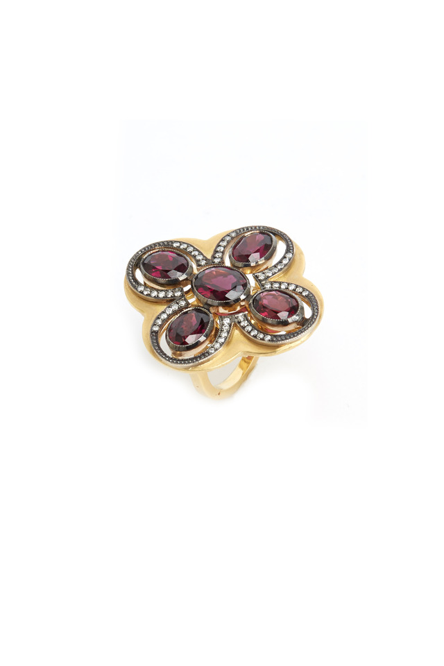 Gold Rhodolite Garnet Diamond Ring