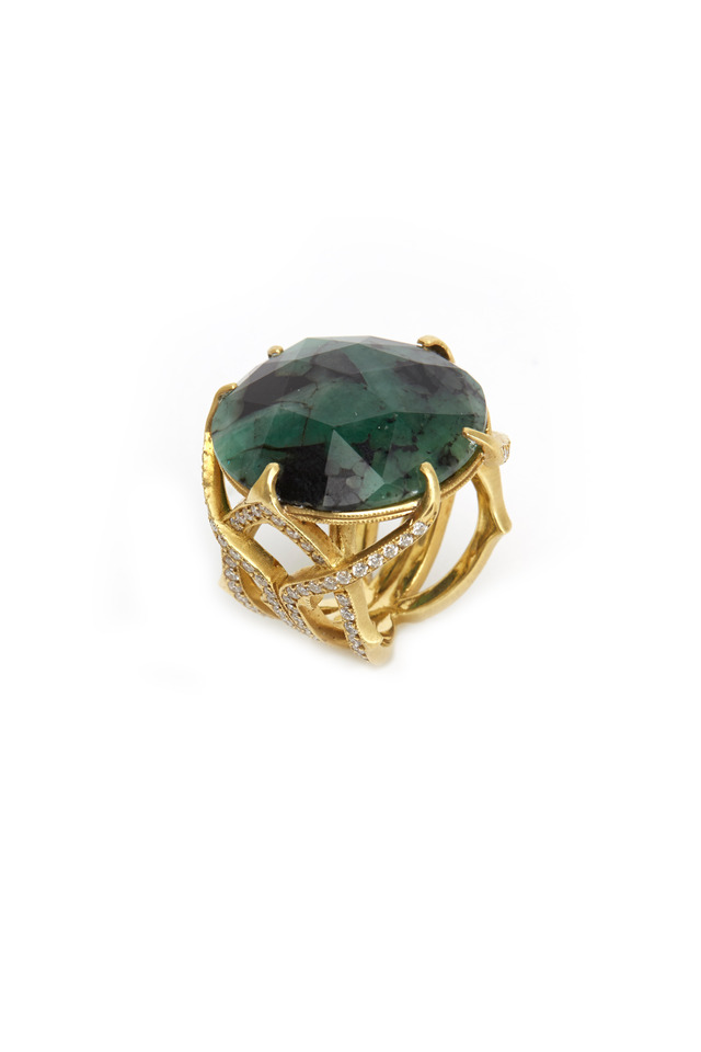 Gold Emerald Diamond Spider Ring