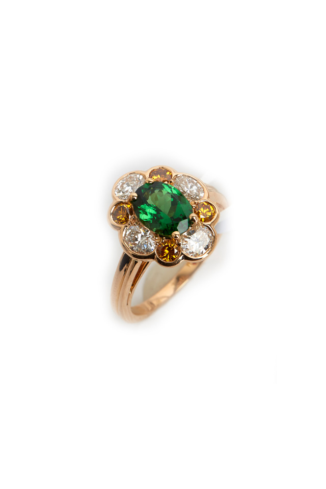 Gold Tsavorite Fancy Diamond Ring