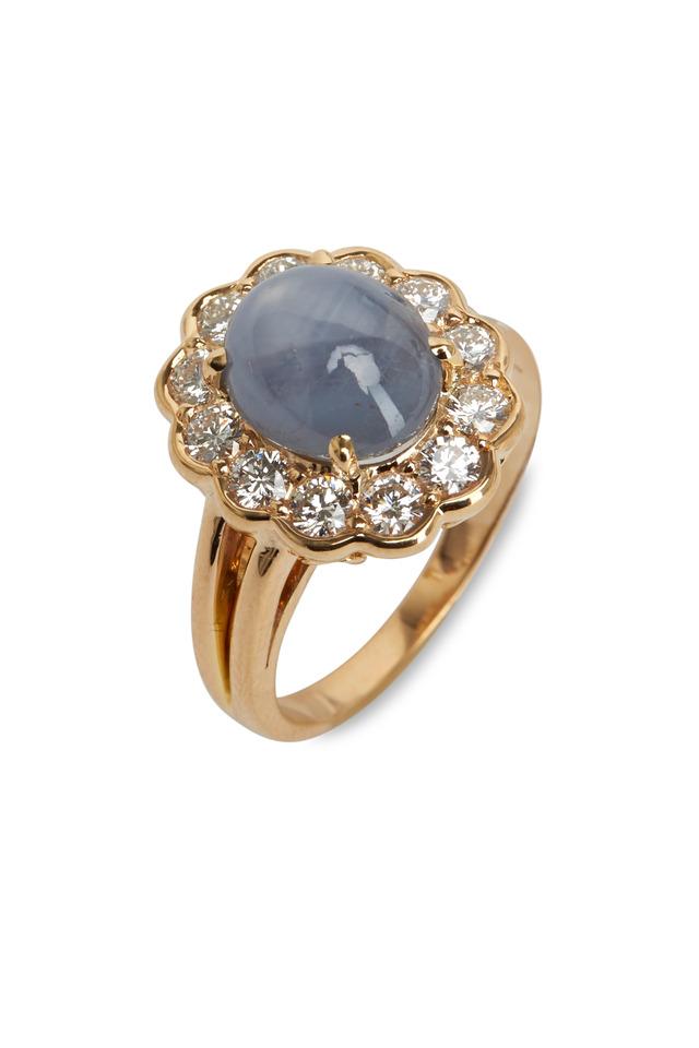 Gold Star Sapphire Diamond Ring
