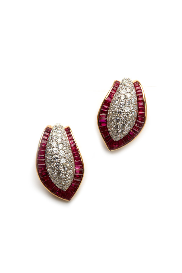 Gold Platinum Ruby Diamond Earrings