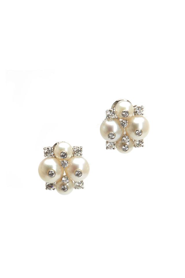 Platinum Pearl Diamond Earrings