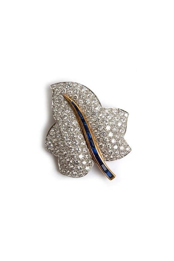 Oscar Heyman Gold & Platinum Sapphire & Diamond Leaf Brooch