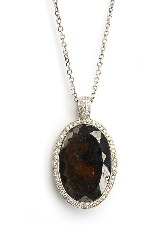 White Gold Oval Black Diamond Pendant