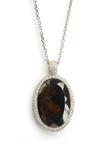 Louis Newman - White Gold Oval Black Diamond Pendant