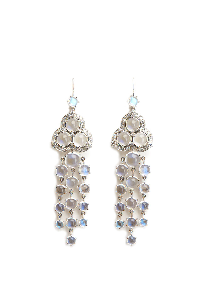 White Gold Blue Moonstone Diamond Fringe Earrings