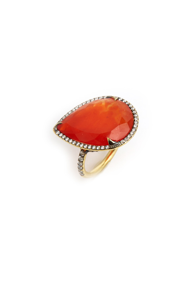 Gold Pear-Shape Orange Chalcedony Diamond Ring