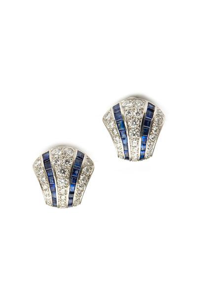Oscar Heyman - Platinum Sapphire Diamond Earrings
