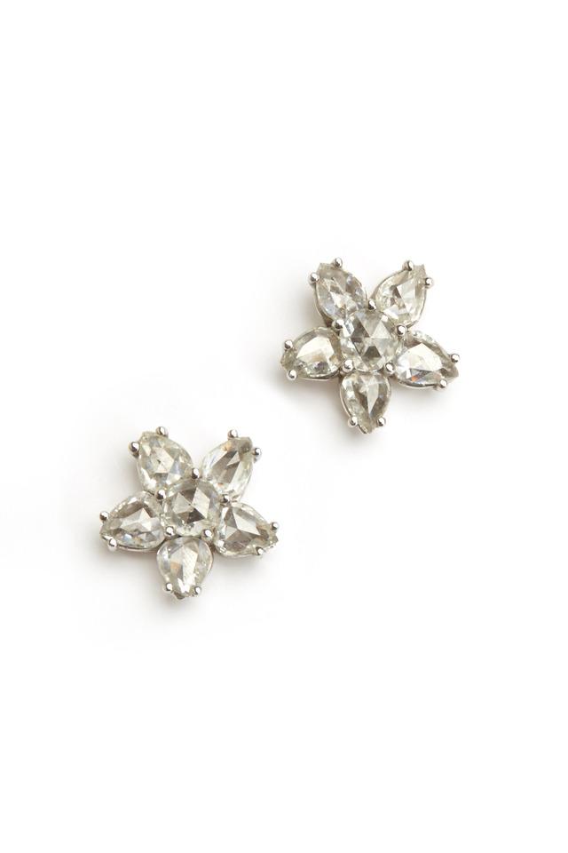 Platinum Rose-Cut Diamond Earrings