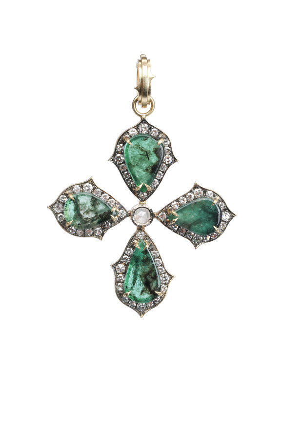 Sylva & Cie 18K Yellow Gold Emerald Pendant
