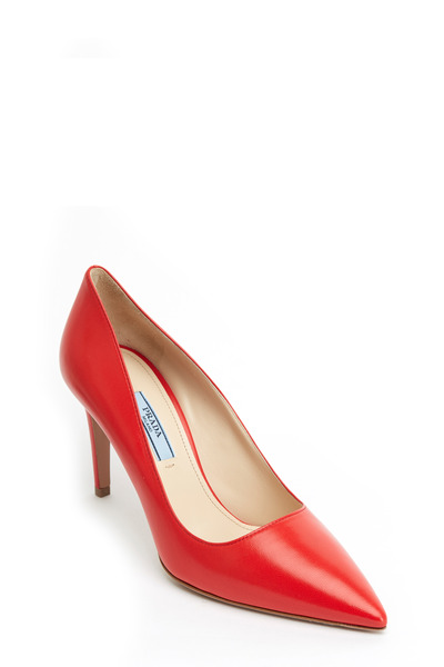 Prada - Coral Leather Pointed Toe Pump, 85mm