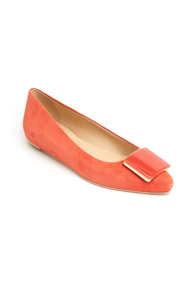 Coral Suede Pointed Ballet Flats
