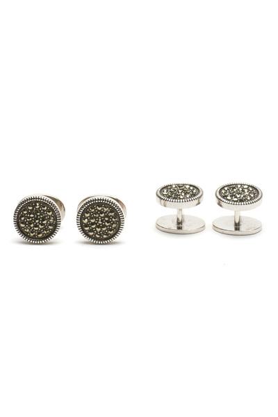 Jan Leslie - Sterling Silver Round Marcasite Stud Set