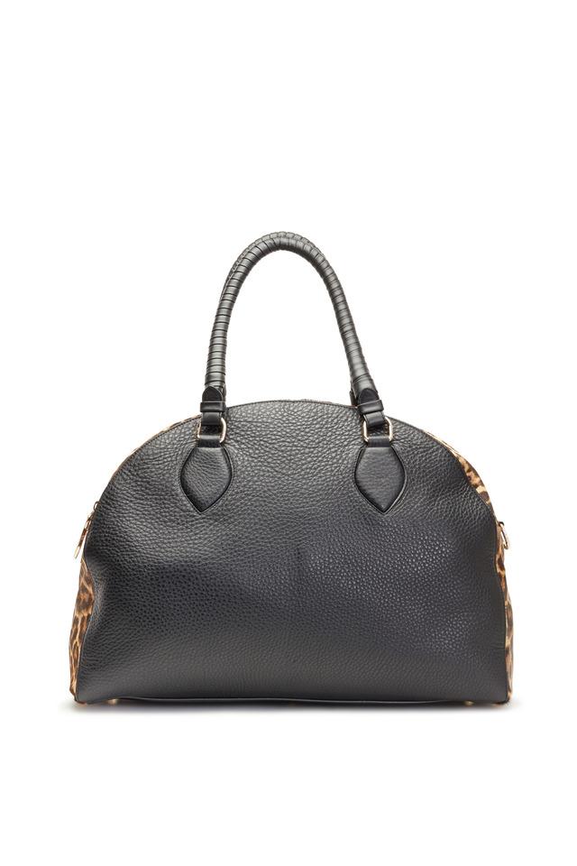 Panettone Leather & Leopard Large Satchel Bag
