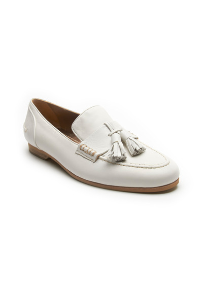 Lanvin - White Leather Tassel Loafers