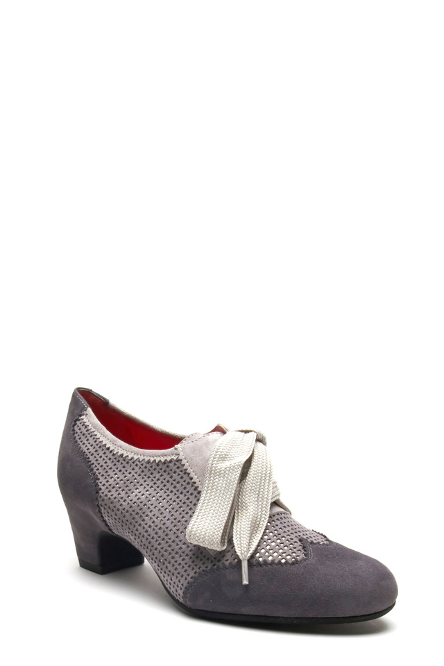 Lucia G304 Gray Suede Oxford Pump, 50mm
