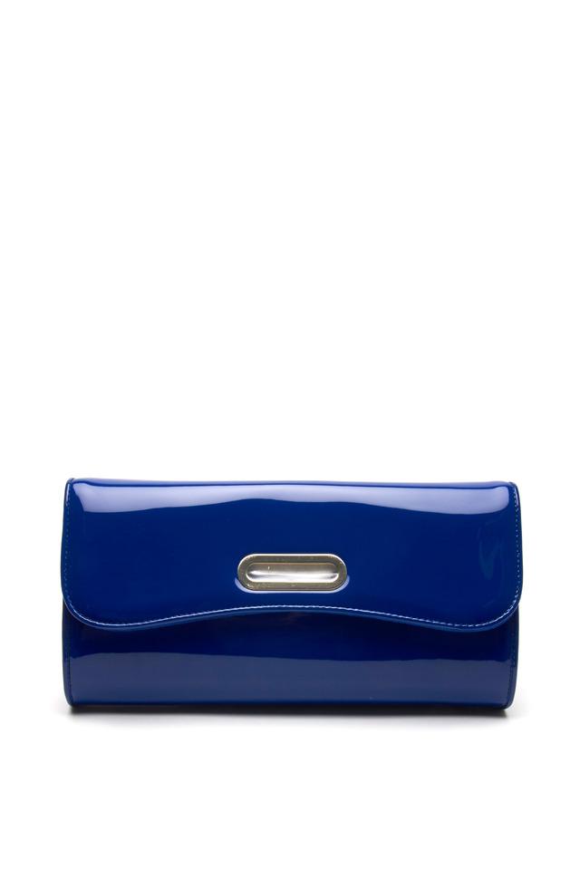 Riveria Blue Patent Leather Flap Clutch