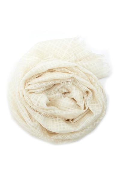 Agnona - White Check Organza Scarf