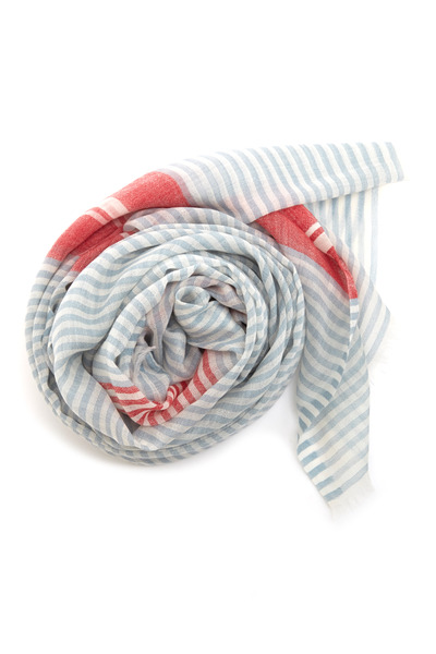Agnona - Charcoal Blue Striped Scarf