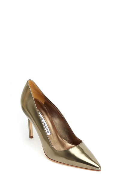 Manolo Blahnik - BB Platinno Metallic Leather Pump, 90mm