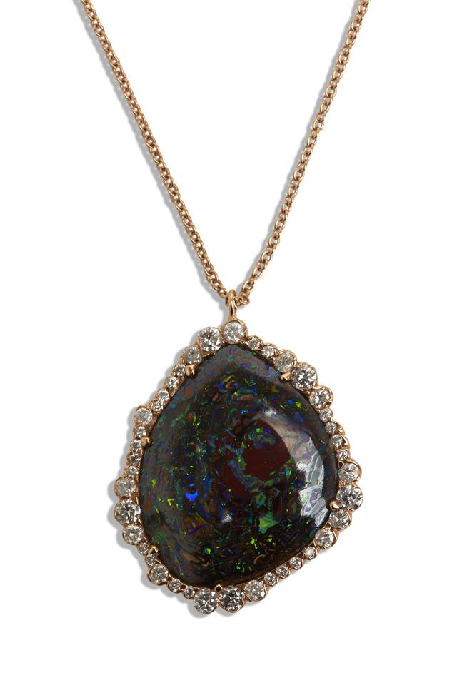 Rose Gold Yowah Opal Diamond Pendant Necklace