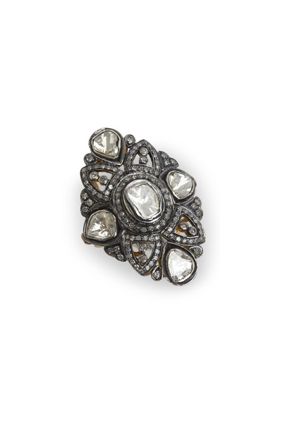 Loren Jewels - Gold & Silver Rose-Cut Diamond Vertical Ring