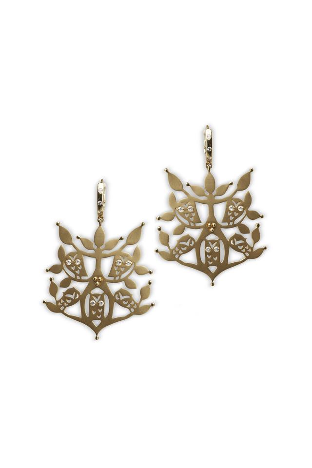 Yellow Gold Cut-Out Owl Diamond Earrings