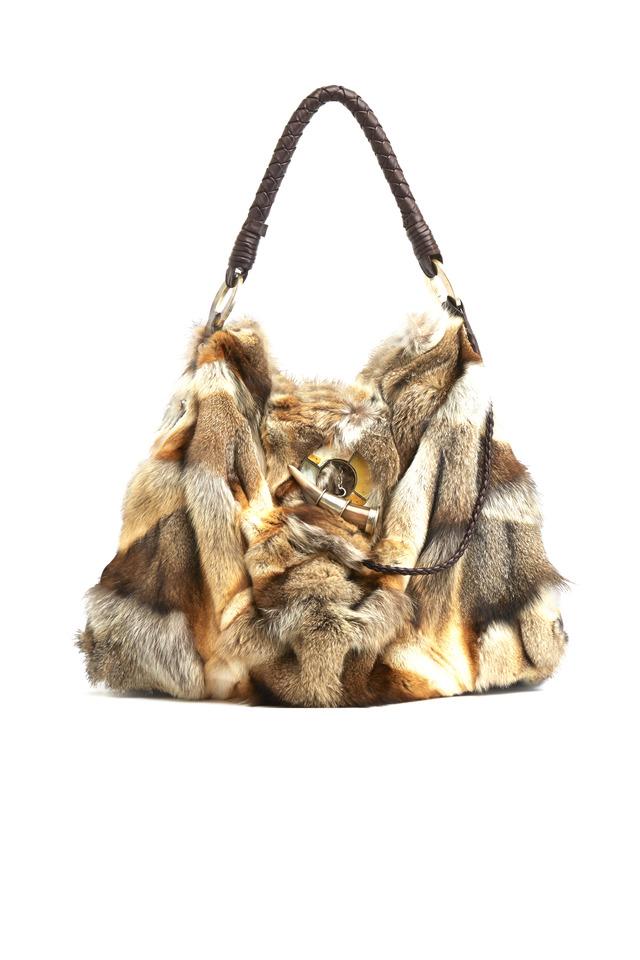 Francesca Beige Fox & Leather Handbag