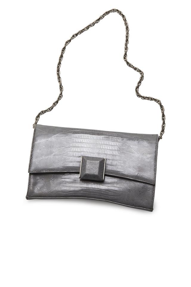 Veronica Grey Lizard Handbag