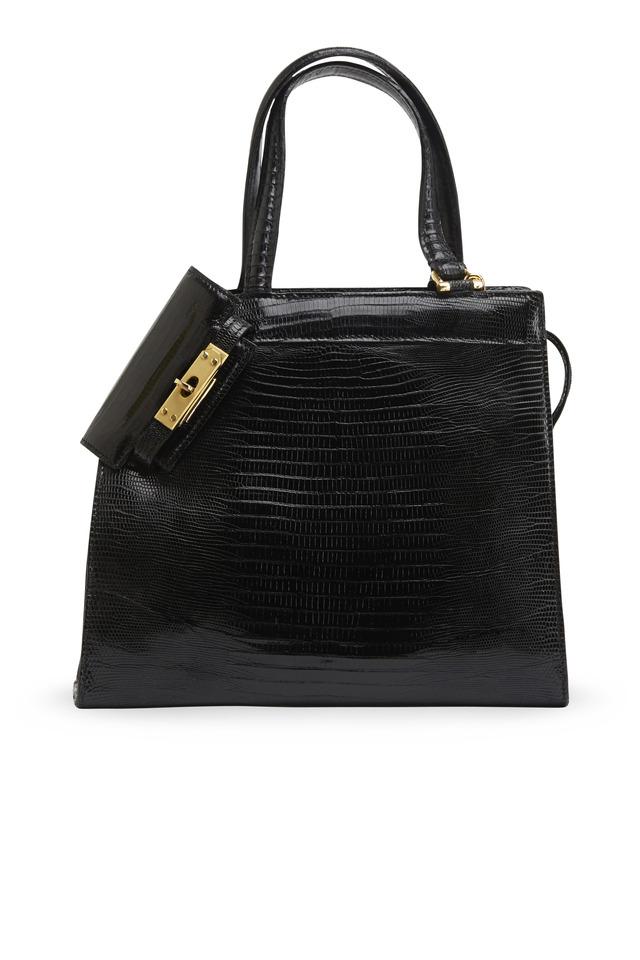 Isabella Black Lizard Handbag