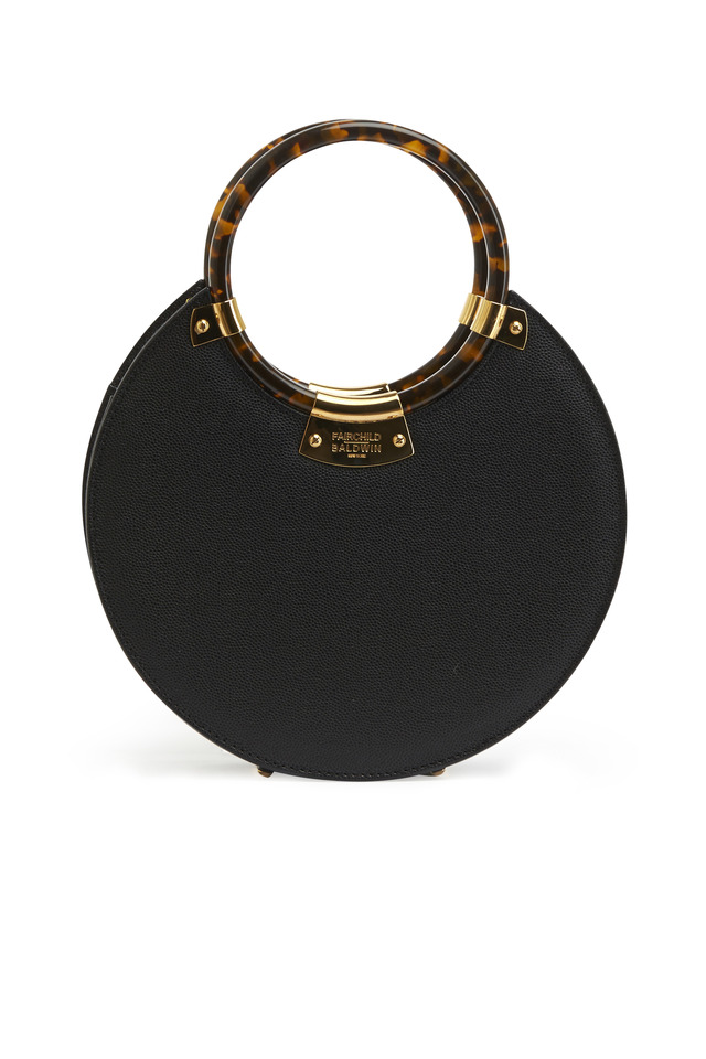 "Black Leather Evening ""O"" Handbag"