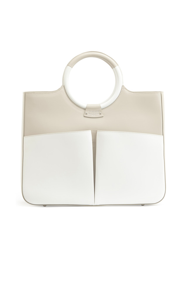 Victoria Taupe & White Leather Handbag