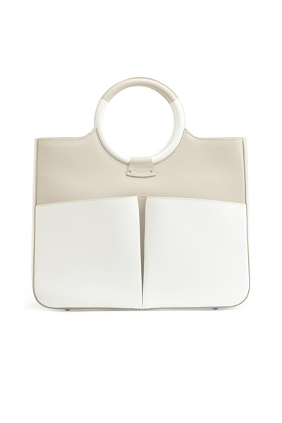 Fairchild Baldwin - Victoria Taupe & White Leather Handbag