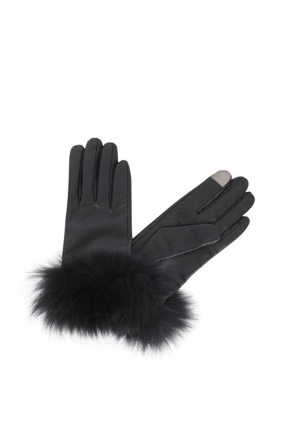 Adrienne  Black Leather Fur Trim Tech Gloves
