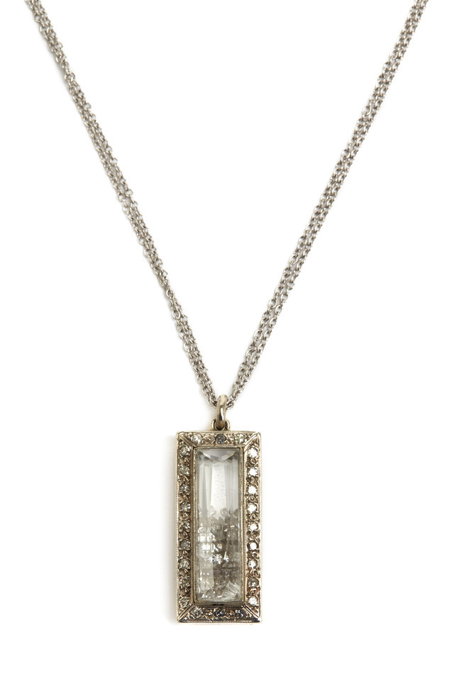 White Gold Diamond Rimmed Shake Necklace
