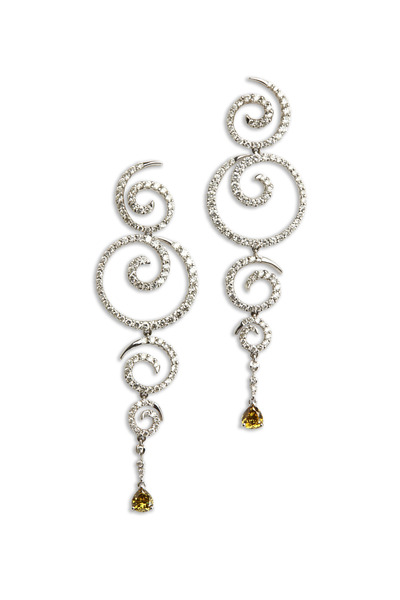 Kathleen Dughi - White Gold Diamond Swirl Drop Earrings