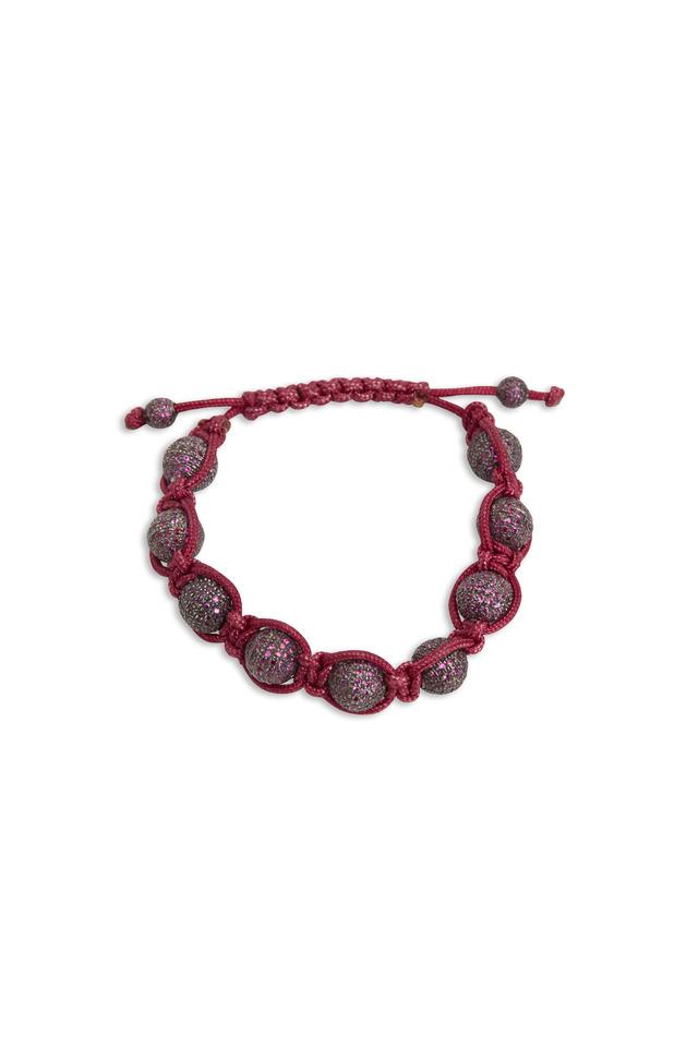 Sterling Silver Ruby Pink Macrame Bracelet