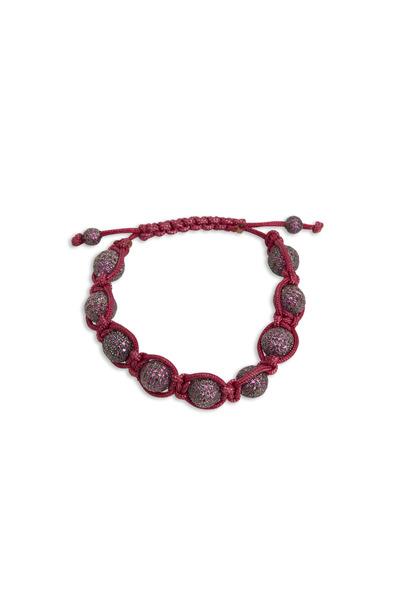 Loren Jewels - Sterling Silver Ruby Pink Macrame Bracelet