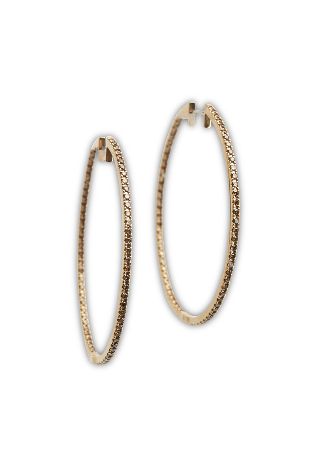 Pink Gold Diamond Pinpoint Hoop Earrings
