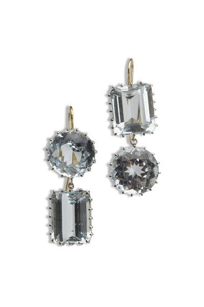 Renee Lewis - White Gold Natural Blue Topaz Earrings