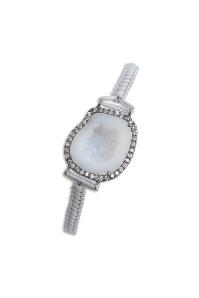 Kimberly McDonald - White Gold Diamond Bezel Geode Macramé Bracelet