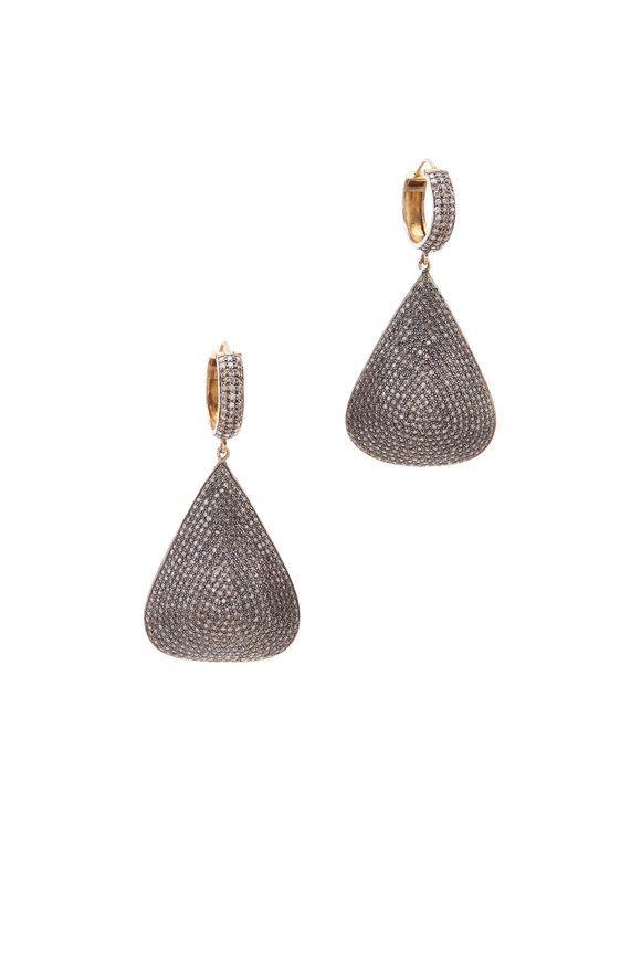 Loren Jewels Gold & Silver Triangular Pavé-Set Diamond Earrings