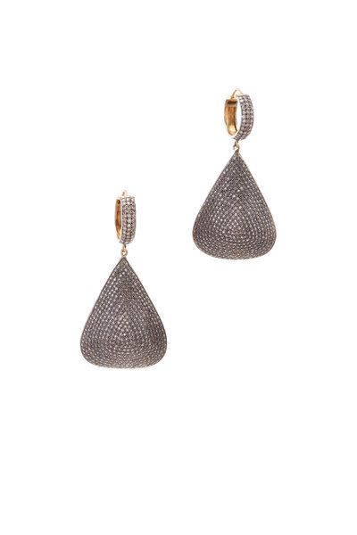 Loren Jewels - Gold & Silver Triangular Pavé-Set Diamond Earrings