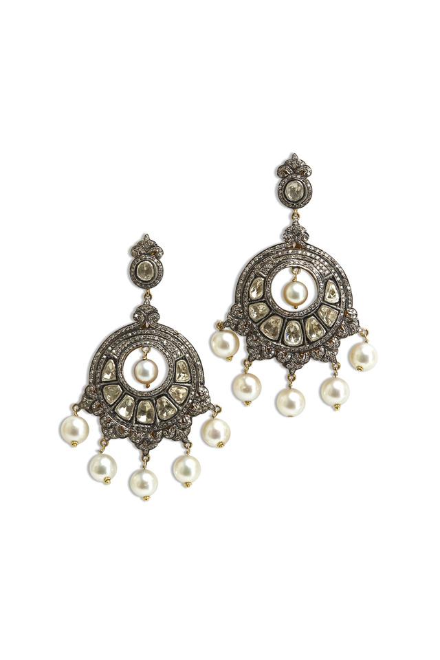 Gold & Silver Pearl Chandelier Diamond Earrings