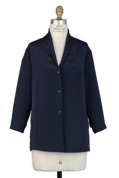 Peter Cohen - Navy Blue Silk Shawl Collar Blouse