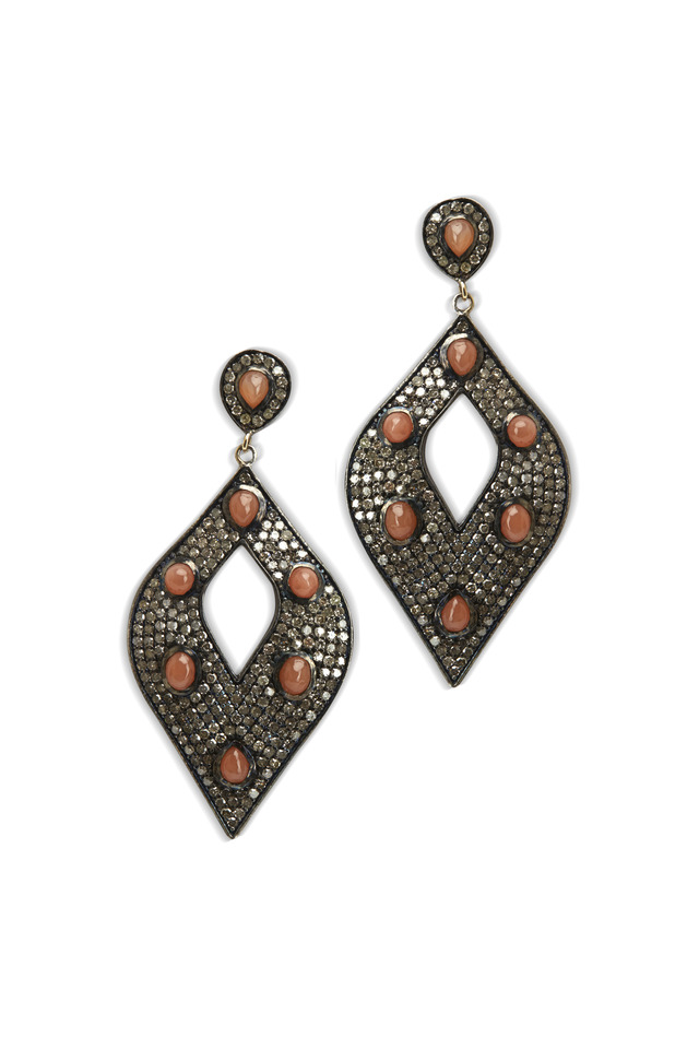 Gold Orange Moonstone Open Diamond Earrings