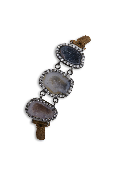 Kimberly McDonald - White Gold Rhodium Geode Macrame Diamond Bracelet