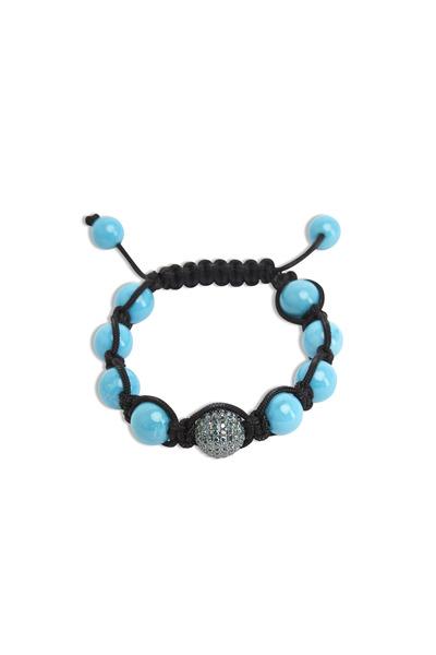 Loren Jewels - Gold Turquoise Bead Macrame Blue Diamond Bracelet